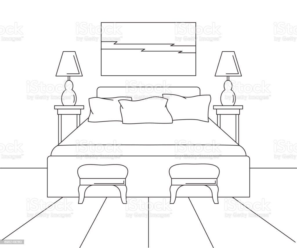 Ilustración De Dibujo Lineal De Un Interior Dormitorios