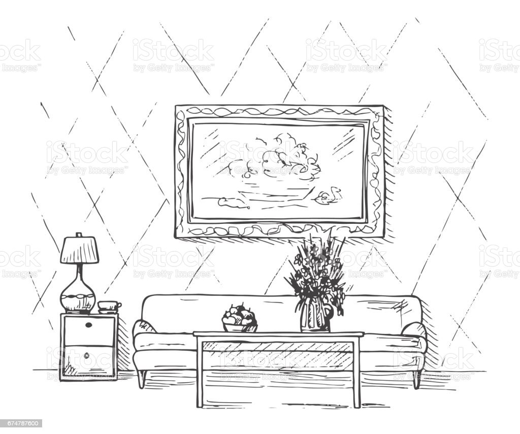 Linear sketch of an interior sofa table bedside table lamp flower linear sketch of an interior sofa table bedside table lamp flower geotapseo Gallery