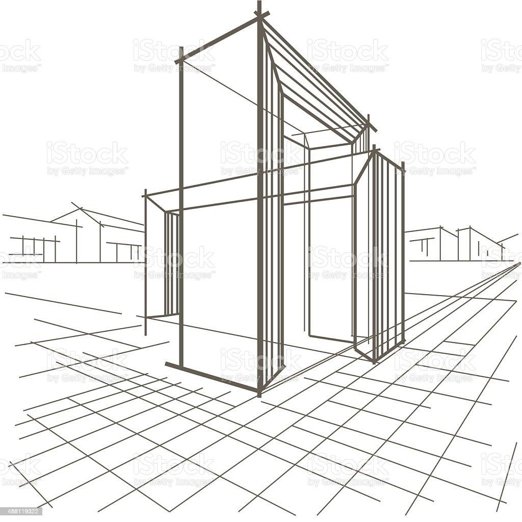 Linear skizze der architektur und bau von zwei - Architektur skizze ...