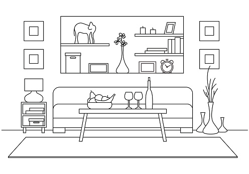 Linear sketch of interior. Table with glasses and  bottle in front of the sofa. Vector illustration
