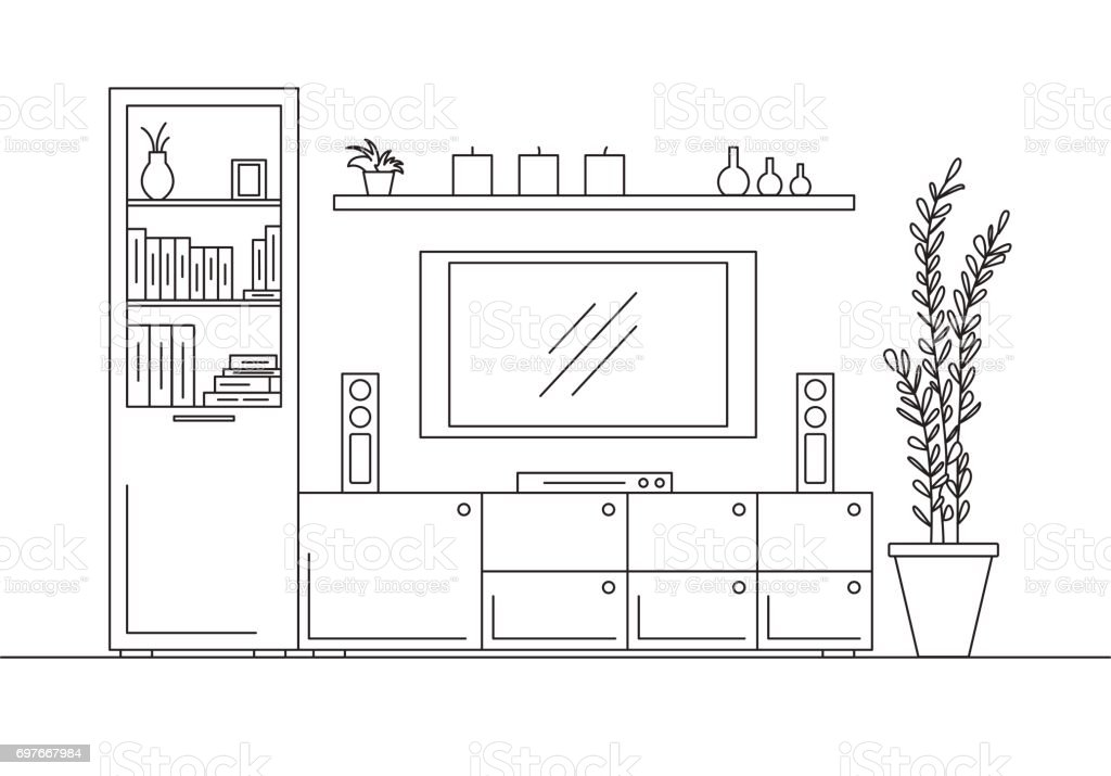 linear sketch of the interior  bookcase, dresser with tv and shelves   linear sketch