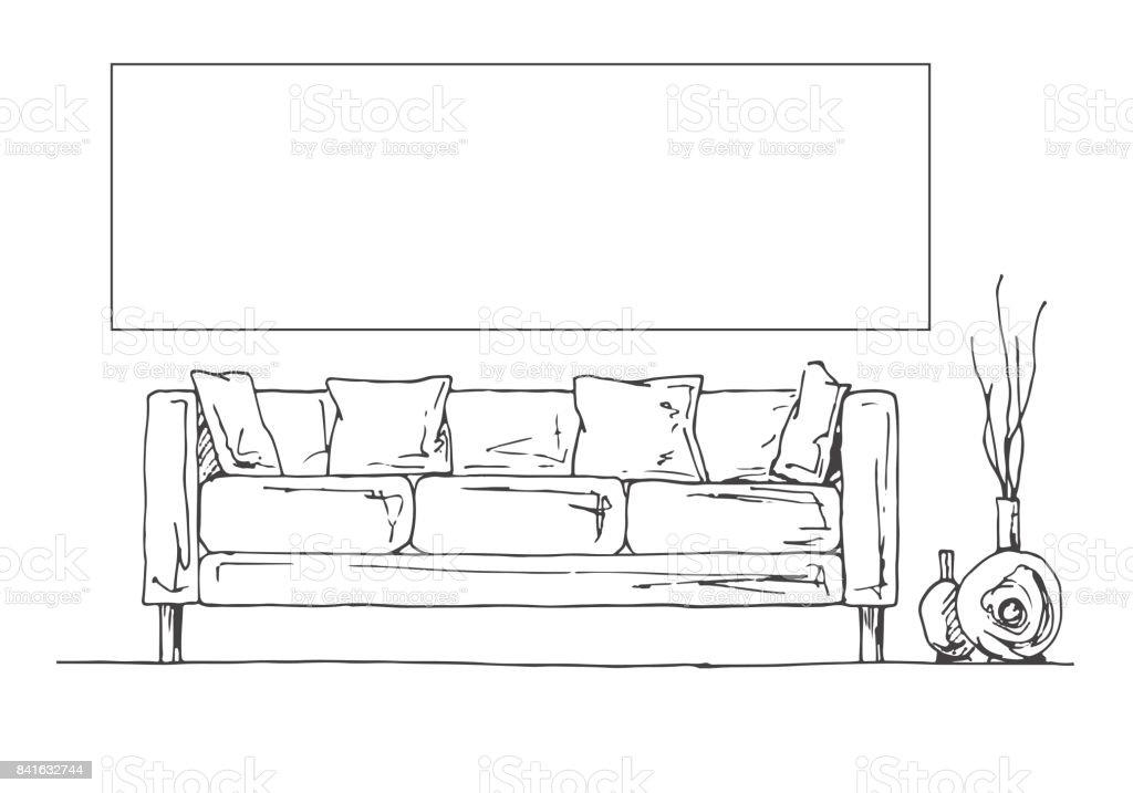 Dibujo lineal del interior parte de la sala marco en la for Dibujar muebles