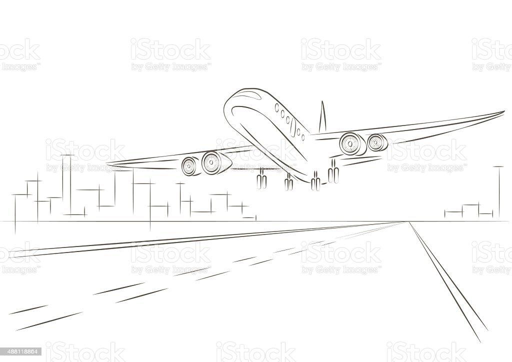 Ilustración de Dibujo Lineal Avión Despegando y más banco de ...
