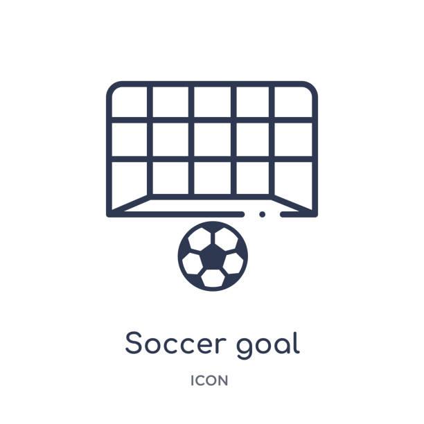 stockillustraties, clipart, cartoons en iconen met lineair voetbaldoel icoon van voetbal overzicht collectie. dunne lijn soccer goal vector geïsoleerd op witte achtergrond. voetbaldoel trendy illustratie - soccer goal