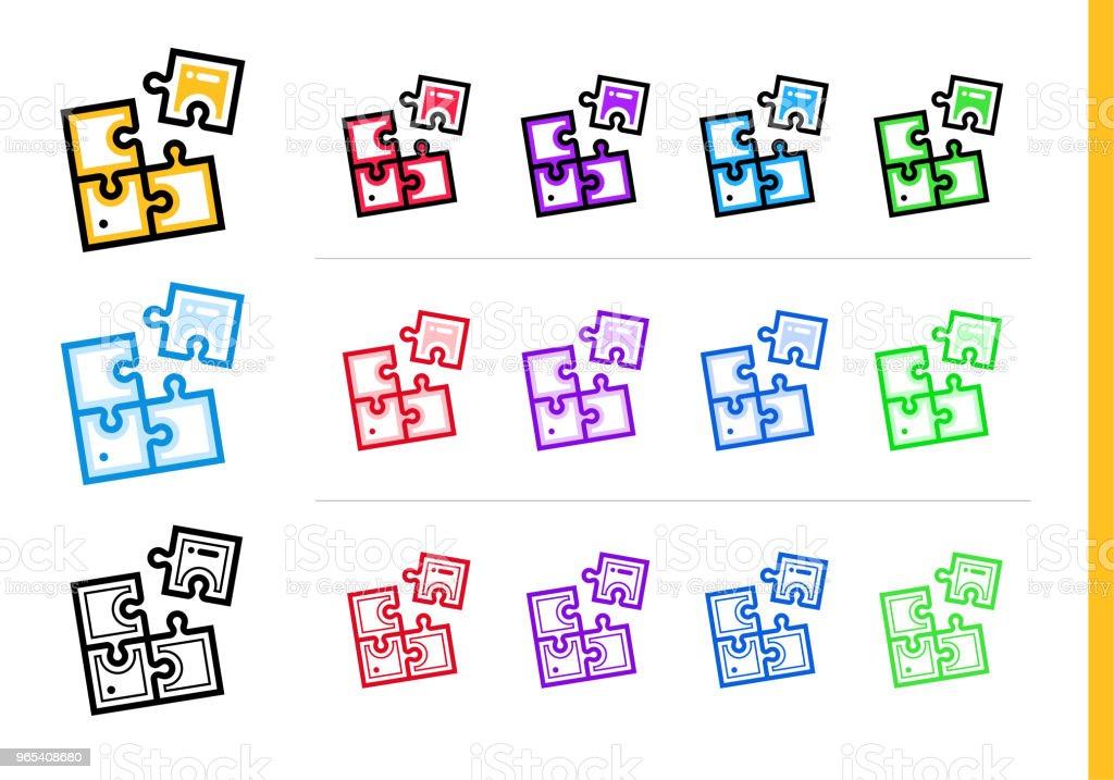 Lineare Lösung Symbol für Startup-Unternehmen in verschiedenen Farben. Vektorelemente geeignet für Website, mobile Anwendung und Präsentation - Lizenzfrei Design Vektorgrafik
