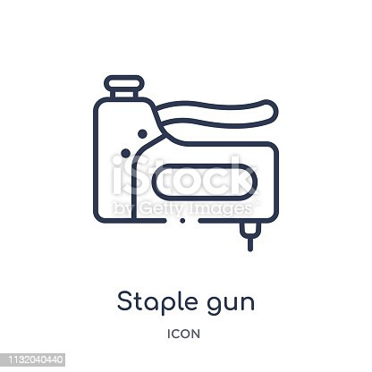 Linear staple gun icon from Construction and tools outline collection. Thin line staple gun icon isolated on white background. staple gun trendy illustration