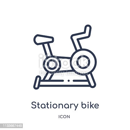 Linear stationary bike icon from Health outline collection. Thin line stationary bike icon isolated on white background. stationary bike trendy illustration