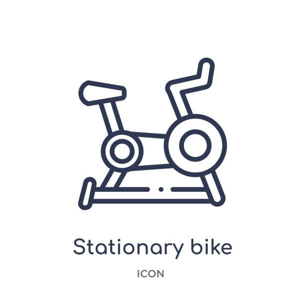 stockillustraties, clipart, cartoons en iconen met lineaire stationaire fiets icoon uit de gezondheid overzicht collectie. dunne lijn stationaire fiets icoon geïsoleerd op witte achtergrond. stationaire fiets trendy illustratie - ronddraaien