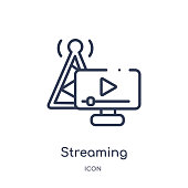 Linear streaming icon from Artifical intelligence outline collection. Thin line streaming vector isolated on white background. streaming trendy illustration