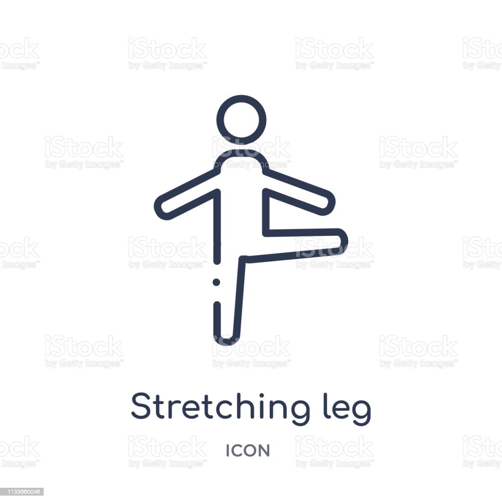 Linear stretching leg exercise icon from Gym and fitness outline...