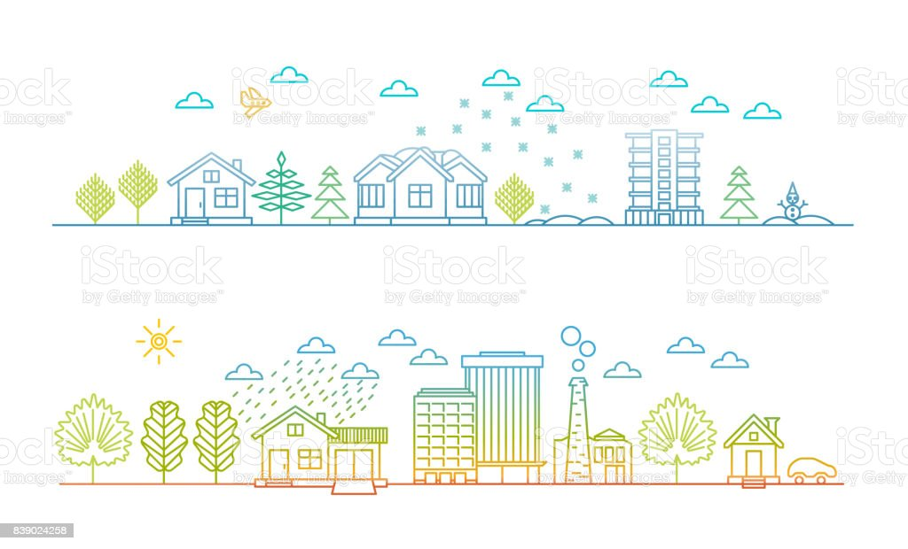 Linear style - city illustration, cityscape at Christmas and in summer day vector art illustration