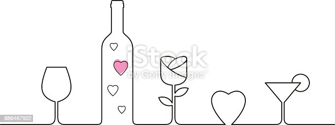 istock Linear style design for Valentines Day with wine glasses, rose and heart shaped 686467502