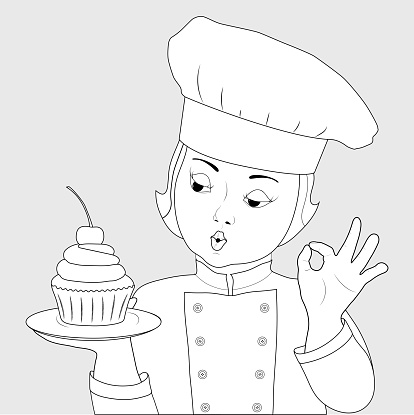 Linear style. Female pastry chef .Cake on a platter. OK - sign with hand. White - black drawing. Vector