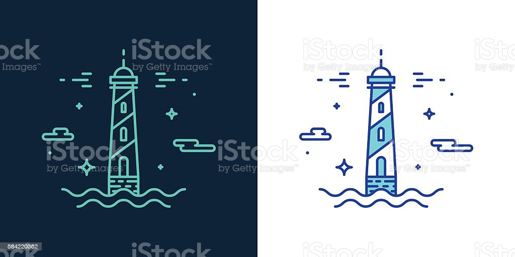 Linear style icon of a lighthouse vector – Vektorgrafik
