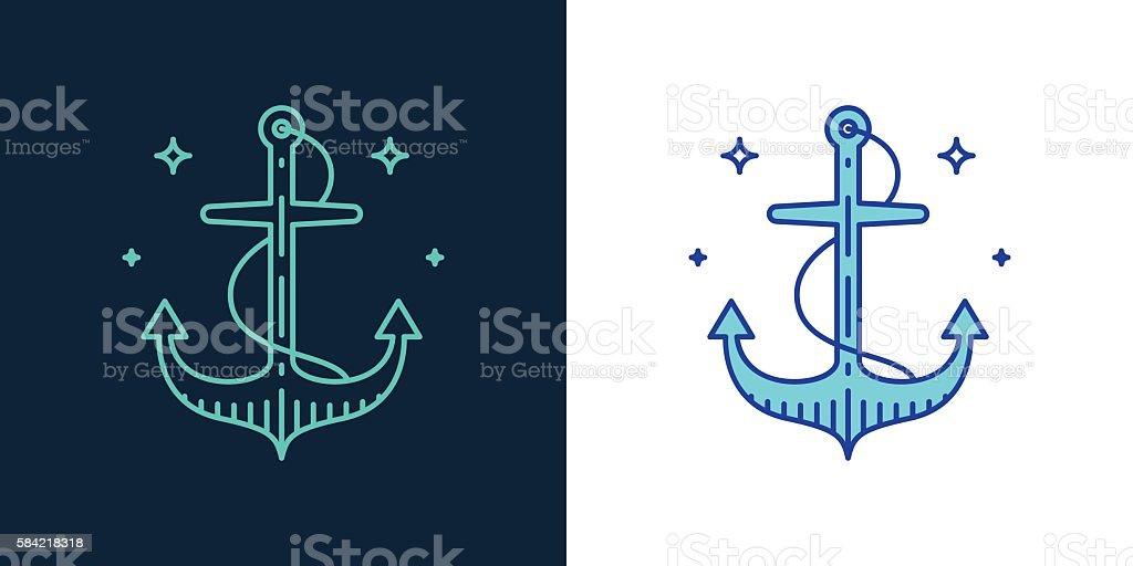 Linear style icon of an anchor vector – Vektorgrafik