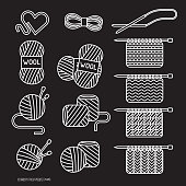 linear style icons of wool amd knitting inspired elements white outline