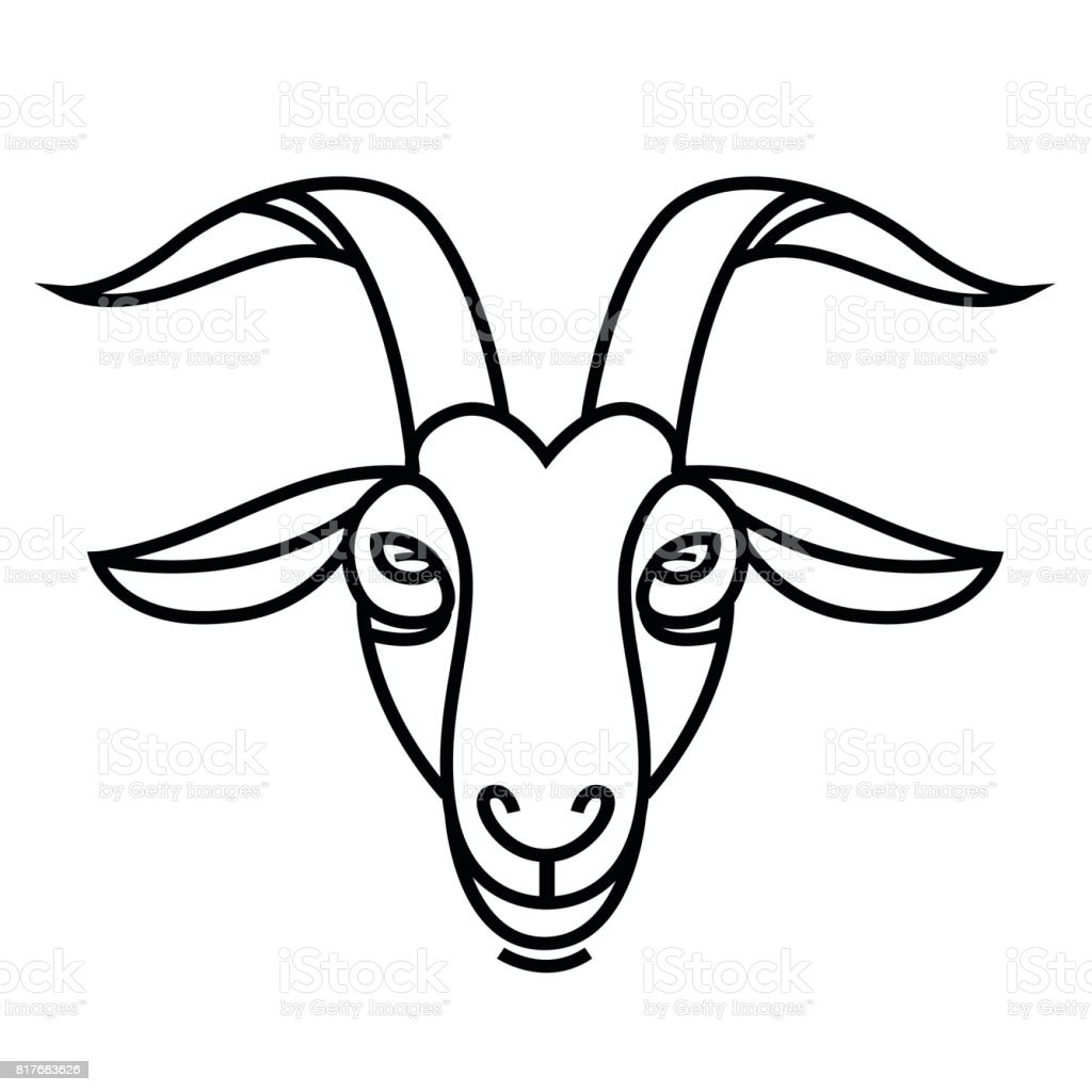 Linear Stylized Drawing Goats Head stock vector art ... Goat Face Side Drawing