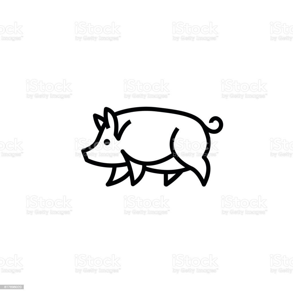 Linear Stilisierte Zeichnung Schwein Schweine Stock Vektor Art und ...