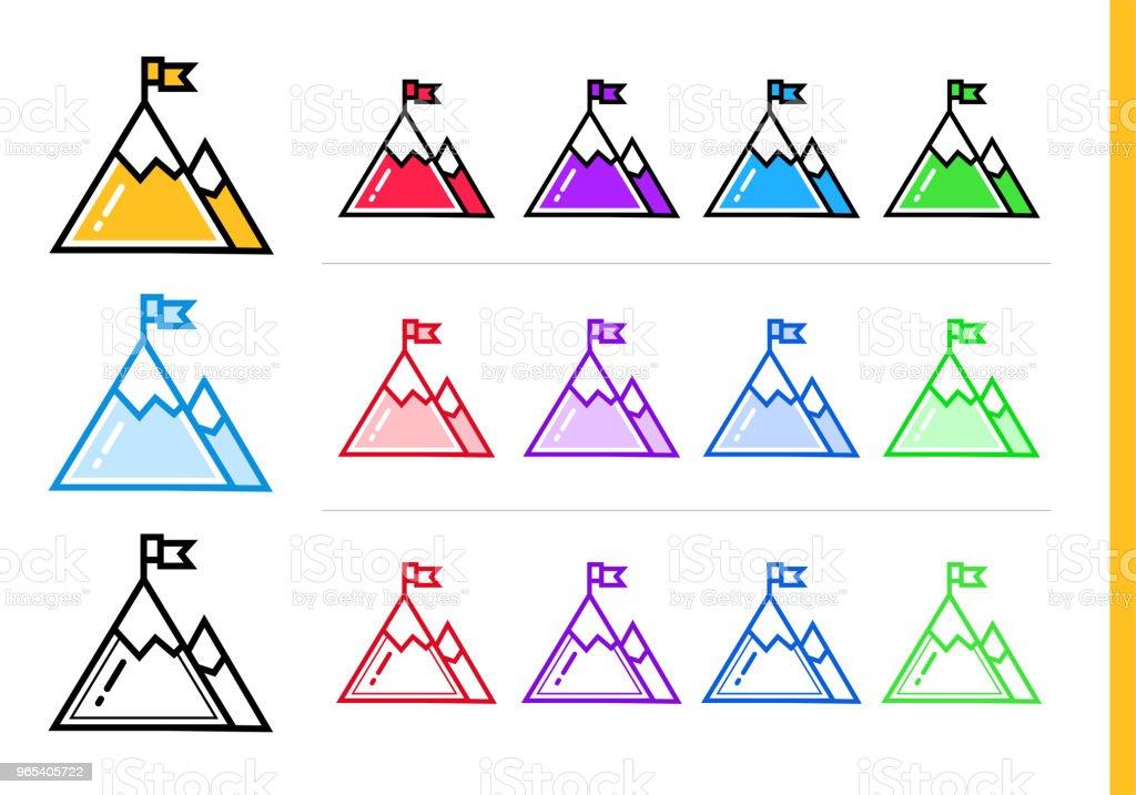 以不同顏色啟動業務的線性成功圖示。網站的向量元素, 移動應用 - 免版稅商務圖庫向量圖形