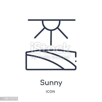 Linear sunny icon from Agriculture farming and gardening outline collection. Thin line sunny vector isolated on white background. sunny trendy illustration