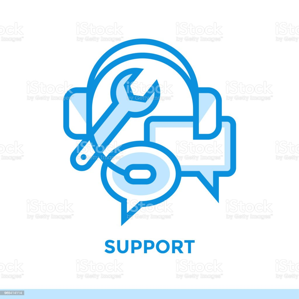 Linear support icon for new business. Pictogram in outline style. Vector modern flat icon suitable for print, presentation and website royalty-free linear support icon for new business pictogram in outline style vector modern flat icon suitable for print presentation and website stock vector art & more images of business