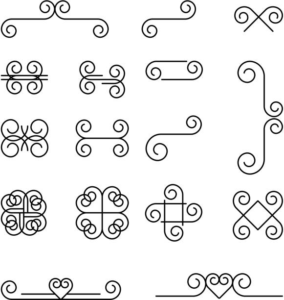 Linear Swirl Symbols Stock Vector Art More Images Of Abstract