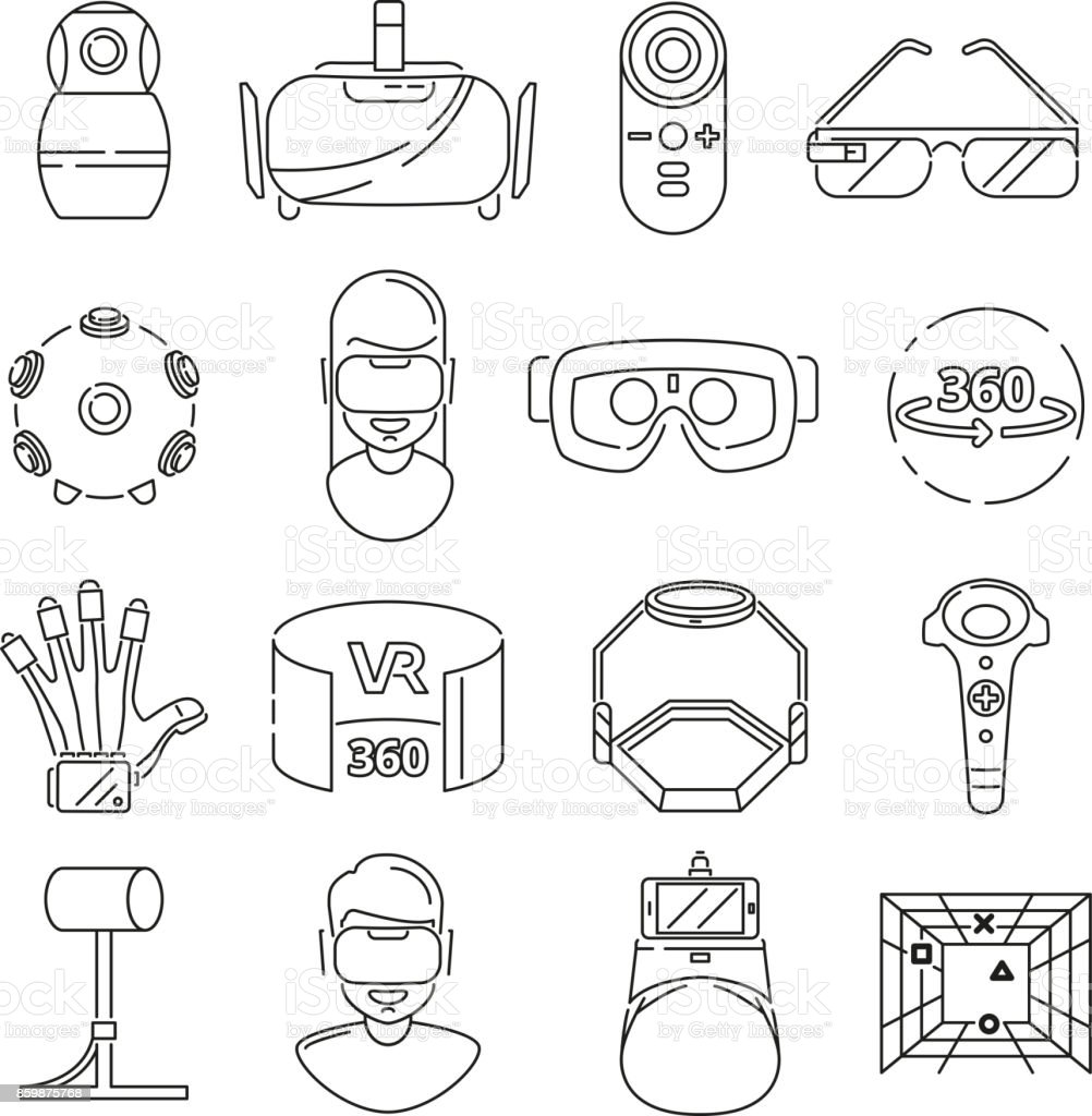 Linear symbols of technology. Virtual reality and vr glasses. 3d rotation vector art illustration