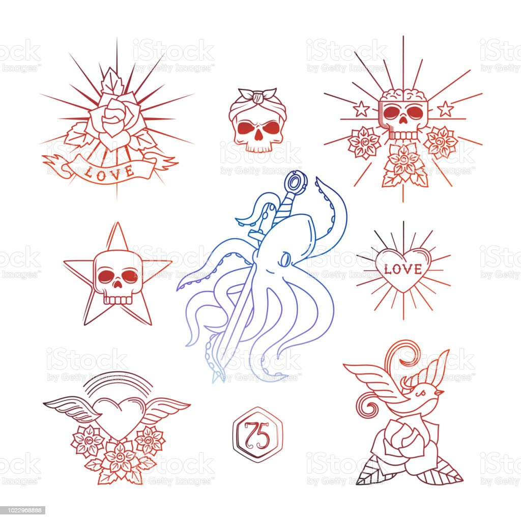 Ilustracion De Tatuajes Lineales Con Elementos De Craneo Vector