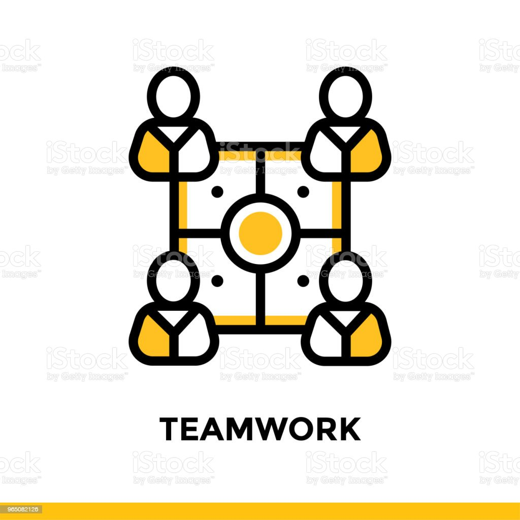 Linear teamwork icon for startup business. Pictogram in outline style. Vector flat line icon suitable for mobile apps, websites and presentation royalty-free linear teamwork icon for startup business pictogram in outline style vector flat line icon suitable for mobile apps websites and presentation stock vector art & more images of business