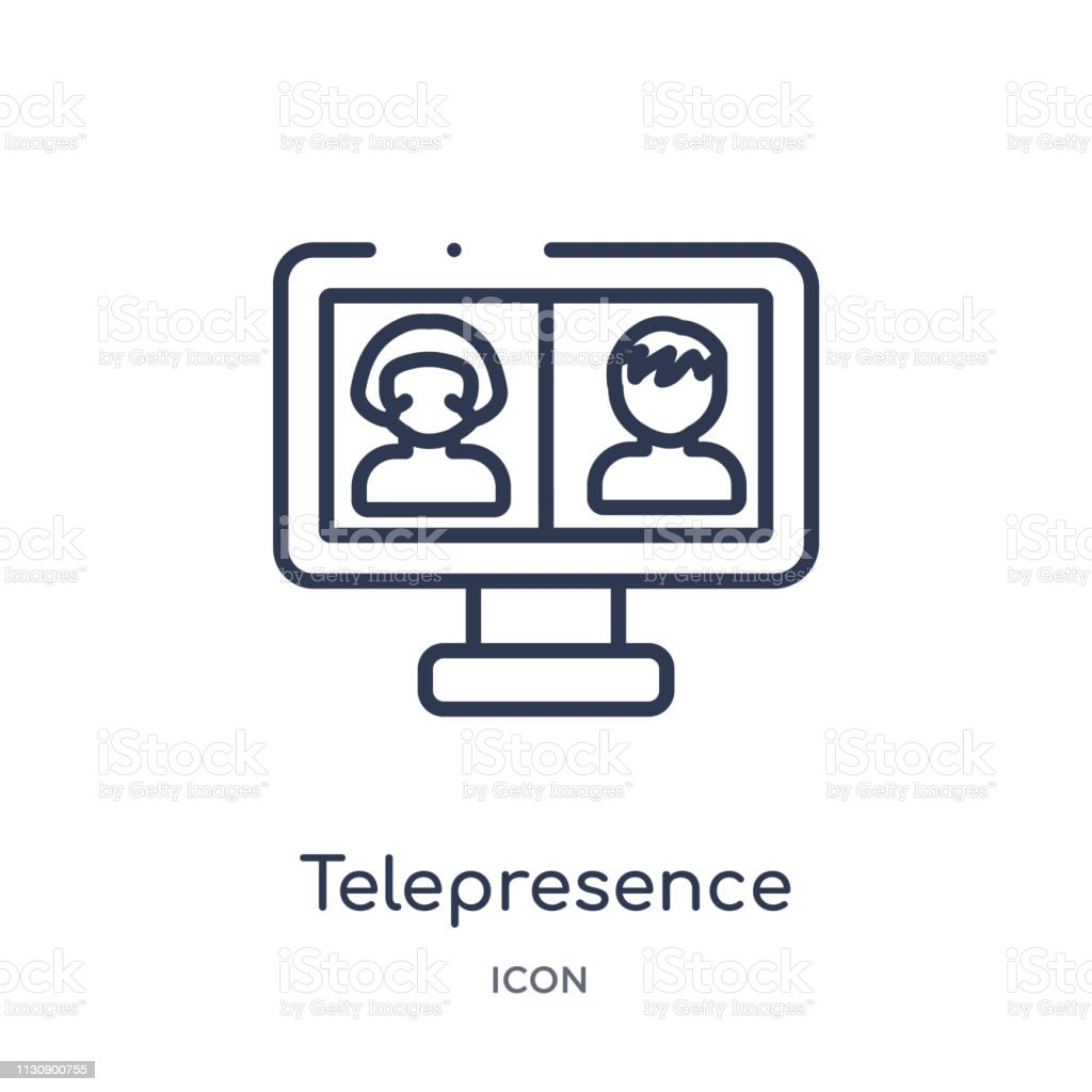 Linear telepresence icon from Artifical intelligence outline collection. Thin line telepresence vector isolated on white background. telepresence trendy illustration vector art illustration