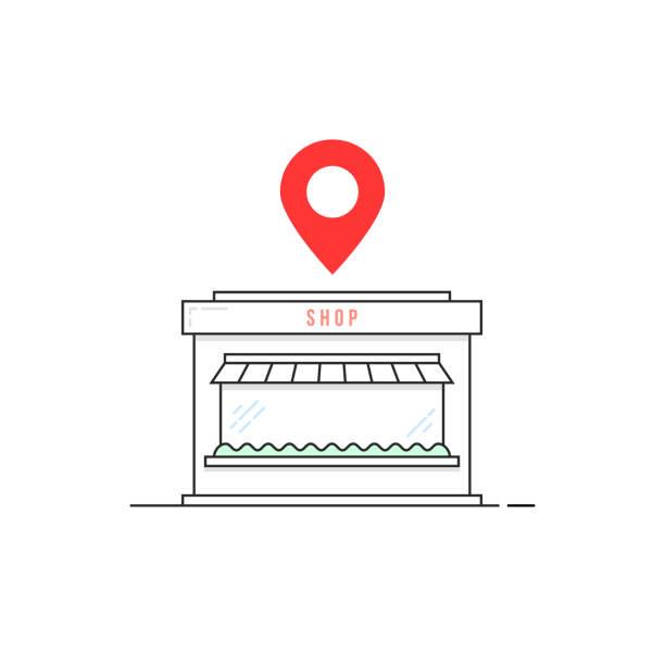 stockillustraties, clipart, cartoons en iconen met lineaire dunne lijn winkel pictogram met een rode pin - warenhuis