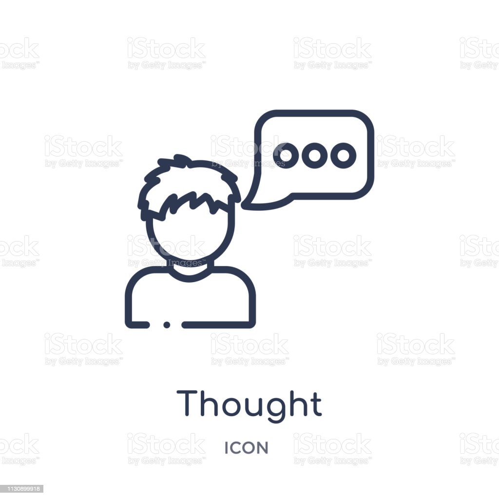 Linear thought icon from Artifical intelligence outline collection. Thin line thought vector isolated on white background. thought trendy illustration vector art illustration