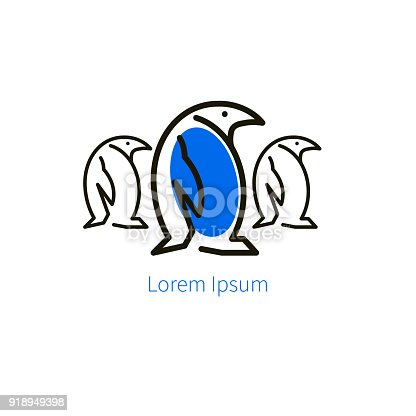 istock Linear three penguin icon 918949398