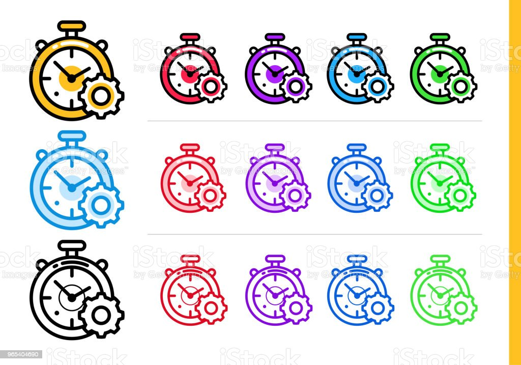 Linear time management icon for startup business in different colors. Vector elements suitable for website, mobile application and presentation royalty-free linear time management icon for startup business in different colors vector elements suitable for website mobile application and presentation stock vector art & more images of business