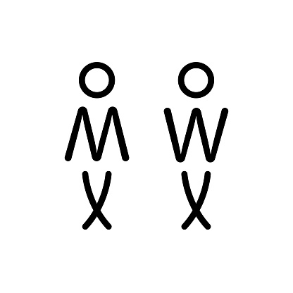 linear toilet sign wc for man and woman