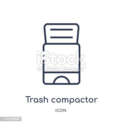 Linear trash compactor icon from Electronic devices outline collection. Thin line trash compactor vector isolated on white background. trash compactor trendy illustration