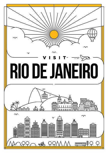 ilustrações de stock, clip art, desenhos animados e ícones de linear travel new york poster design - rio de janeiro