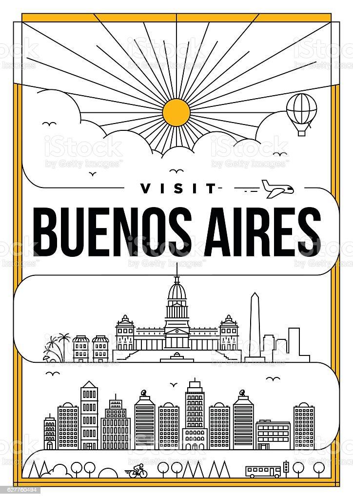 Linear Travel New York Poster Design vector art illustration