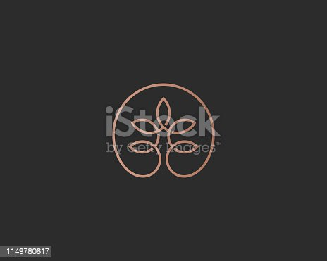 Linear tree flower logotype. Universal premium park lotus eco vector logo icon symbol