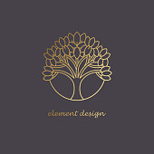 Vector element.The icon of trees. Gold line on a black background. The concept for the organic store, advertising bio products, natural cosmetics, dietary supplements. Luxury style.