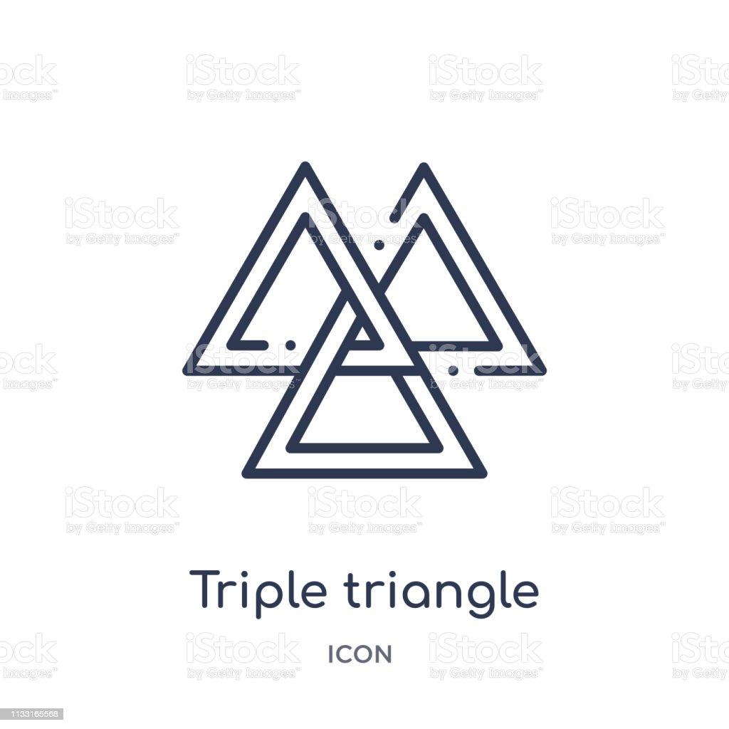 ジオメトリアウトラインコレクションからの線形トリプル三角形アイコン ...