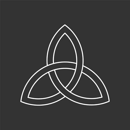 Linear triquetra symbol. Celtic trinity knot. Three parts unity icon. Ancient ornament symbolizing eternity. Infinite interlocking loop sign