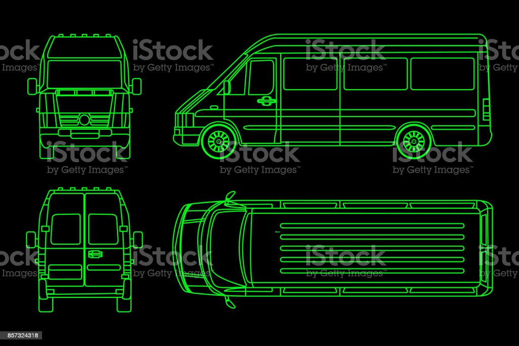 Linear truck pattern on a dark background. View from side, back, front. Vector illustration vector art illustration