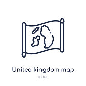 Linear united kingdom map icon from Countrymaps outline collection. Thin line united kingdom map vector isolated on white background. united kingdom map trendy illustration