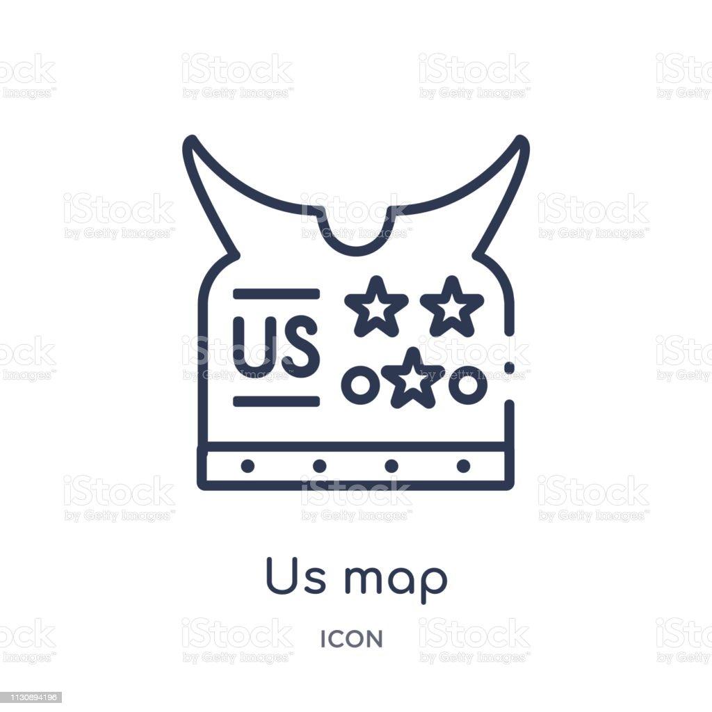 Linear Uns Map Icon Aus Der Sammlung Der Heeresskizze Dünne ...