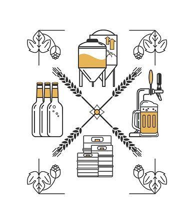 Linear vector brewing concept. Craft beer, brewery. Icon with beer glass, bottle, mug, keg, beer tap, hops and wheat. Isolated elements on white background.