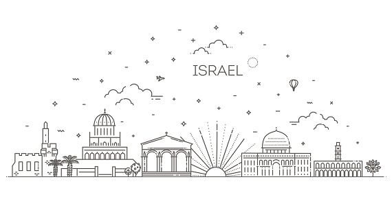 Linear vector icon for Israel