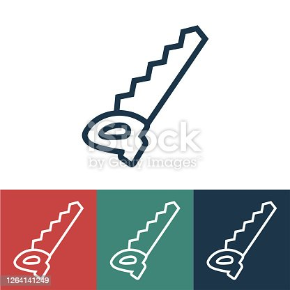 istock Linear vector icon with saw 1264141249
