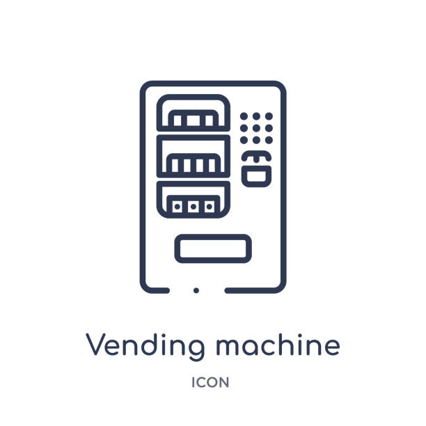 linear vending machine icon from hotel and restaurant outline collection. thin line vending machine icon isolated on white background. vending machine trendy illustration - empty vending machine stock illustrations