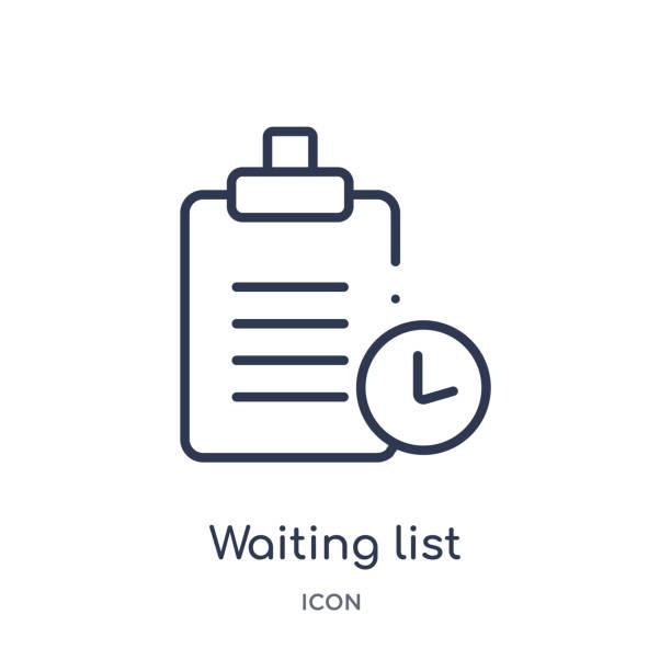 ilustrações, clipart, desenhos animados e ícones de ícone linear da lista de espera do ecommerce e da coleção do esboço do pagamento. linha fina que espera o vetor da lista isolado no fundo branco. ilustração na moda da lista de espera - esperar